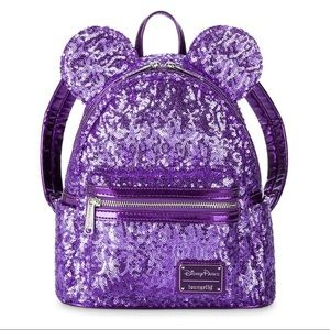 Disney Minnie Sequined Purple Backpack and Wallet